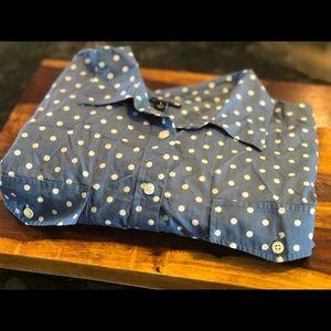 Talbots Polka Dot Blouse Size L Blue/White